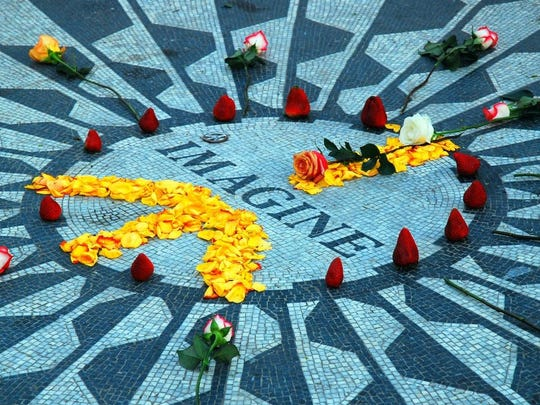 The Strawberry Fields memorial in Central Park, in remembrance of slain Beatle John Lennon.