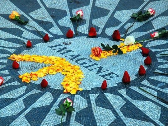 The Strawberry Fields memorial in Central Park, in remembrance of slain Beatle John Lennon.