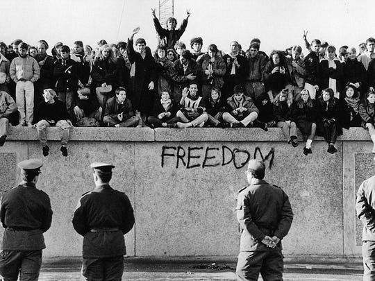 The Berlin Wall came down Nov. 9, 1989.