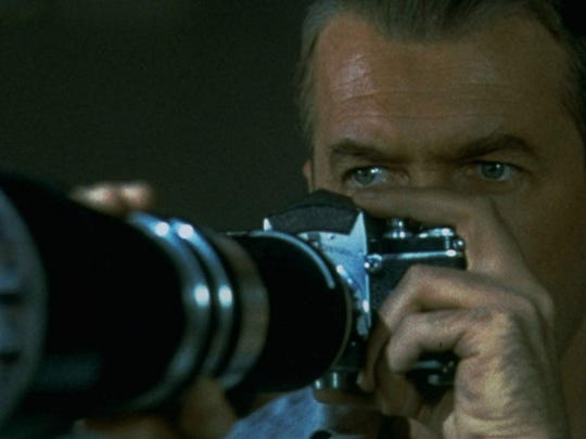"James Stewart plays a photographer who thinks he's spotted a murder in Alfred Hitchcock's classic ""Rear Window."""