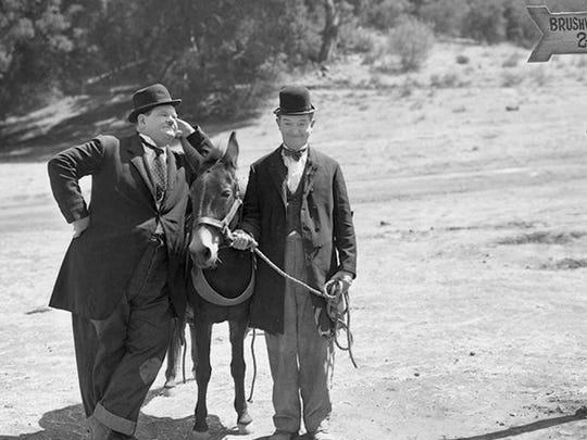 """The real comedic duo in 1937's """"Way Out West."""""""
