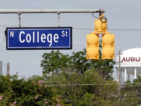 Pictured is a sign for College Street near Auburn University.