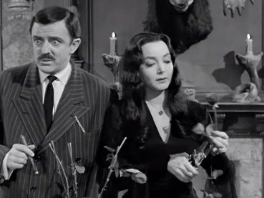 A screenshot from The Addams Family show.