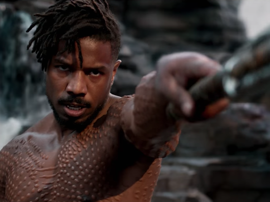 "Michael B. Jordan plays Erik Killmonger in Oscar-nominated Marvel blockbuster ""Black Panther."""