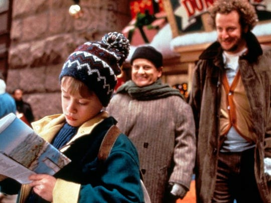 "From left, Macaulay Culkin, Joe Pesci and Daniel Stern starred in ""Home Alone 2: Lost in New York."""