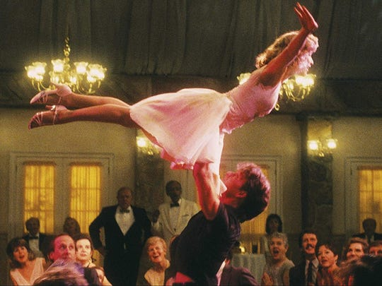 "Jennifer Grey and Patrick Swayze star in ""Dirty Dancing."""