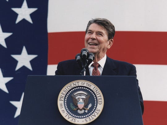 Former President Ronald Reagan delivers a speech during his presidency in the 1980s.