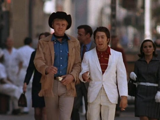 """""""Midnight Cowboy,"""" starring Dustin Hoffman and Jon Voight, the only X-rated film to ever win best picture, will celebrate its 50th anniversary with a screening Saturday at the Palm Springs Cultural Center."""