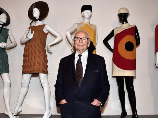 Pierre Cardin is famous for his geometric avant-garde designs and space age look, for which he used vinyl, helmets, and goggles. He was one of the first fashion designers to license his name for sunglasses and other accessories.