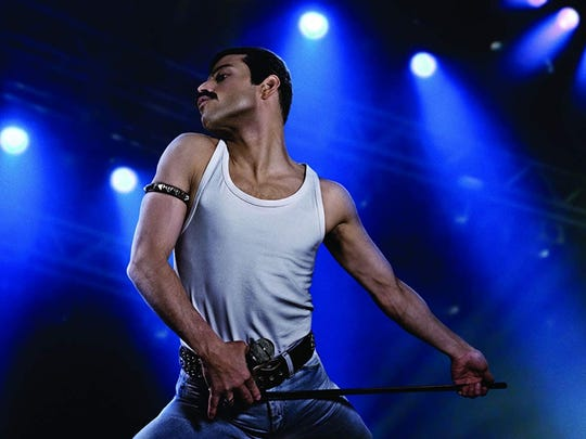 "Rami Malek in his ""Bohemian Rhapsody"" performance."