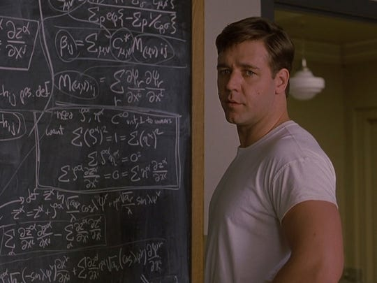 "Russell Crowe played John Nash, a Nobel Laureate in economics, in the 2001 film ""A Beautiful Mind."""
