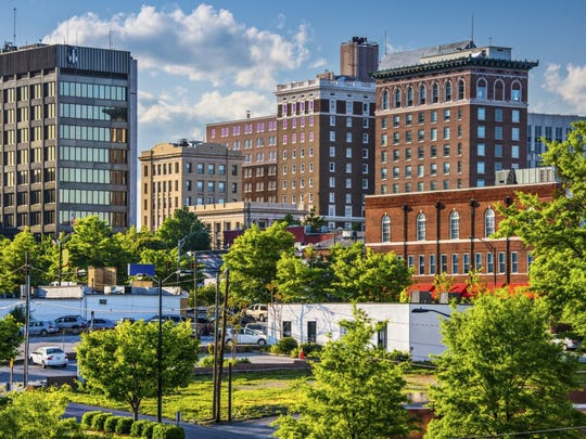 A city view of Greenville, South Carolina. Residents of the state pay one of the lowest property tax rates in the country.