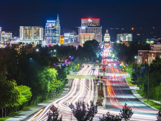 A nighttime view of Boise, Idaho, one of the best cities for college graduates, according to Apartment List.