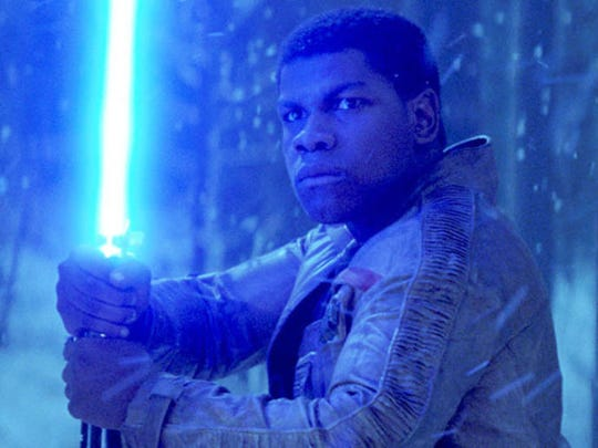 "Finn in a scene from ""Star Wars: The Force Awakens"""