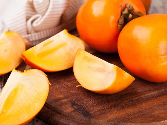 Persimmon   • Calories:  118 each   • Fiber content:  6 g (24% of DV)   • Rich in:  Vitamins A, C, potassium, copper, manganese   • Other health benefits:  Antioxidant, may benefit heart health, reduce inflammation
