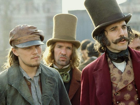 "Leonardo DiCaprio (left) and Daniel Day-Lewis star in Martin Scorsese's ""Gangs of New York."""