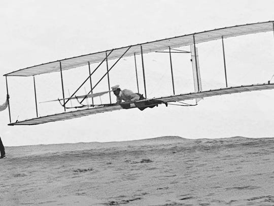 The Wright Brothers in Kitty Hawk.