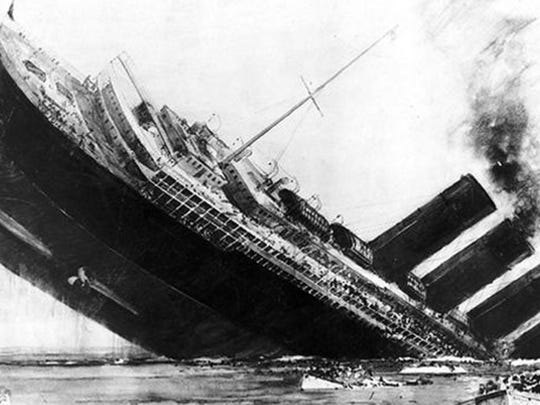 The sinking of the Titanic, on April 10, 1912