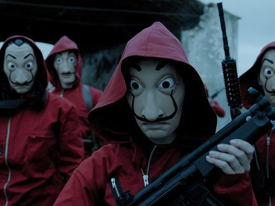 """Money Heist,"" also known as ""La Casa de Papel,"" is a crime drama about eight thieves who attempt to pull off the biggest robbery in Spain."