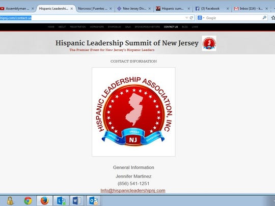 Screen grab for Hispanic Leadership Summit of New Jersey, showing the same phone number as the number for the 5th District Legislative Office located in Camden City Hall.