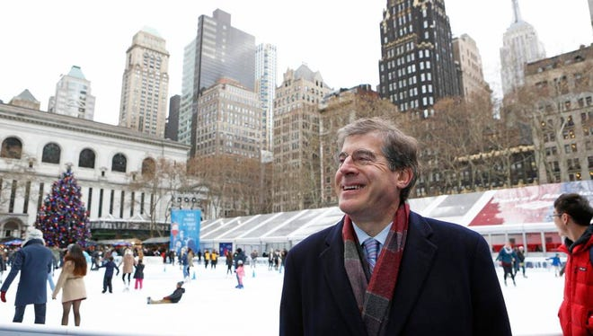 Daniel Biederman, president of the Bryant Park Corporation, is photographed Dec. 11, 2014 at Bryant Park in Manhattan.