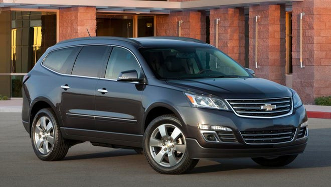 General Motors has ordered dealers not to sell 2016 models of the Chevrolet Traverse (shown here), the GMC Acadia and the Buick Enclave because their window stickers overstate the EPA miles per gallon rating by 1 or 2 miles per gallon.