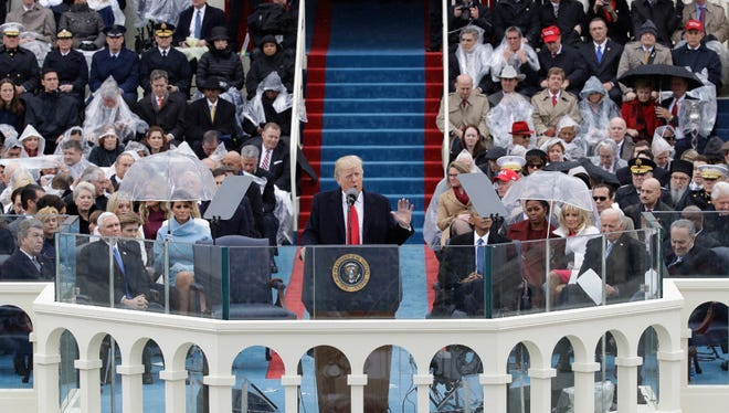 President Donald Trump delivers his inaugural address at the Capitol.