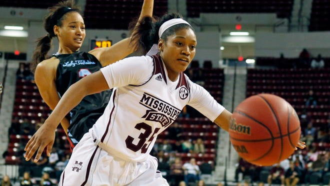In this Dec. 11, 2014, photograph, Mississippi State forward Victoria Vivians (35) pushes past Louisiana Tech forward Whitney Frazier (2) for a loose ball during an NCAA college basketball game in Starkville, Miss. Undefeated No. 14 Mississippi State has won a school-record 18 straight games to start the season. (AP Photo/Rogelio V. Solis)