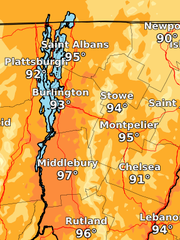 Heat in the 90s is expected throughout most of Vermont on Monday, as illustrated in this National Weather Service map issued June 18, 2018.