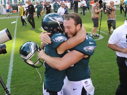 Philadelphia Eagles kicker Jake Elliott (left) celebrates