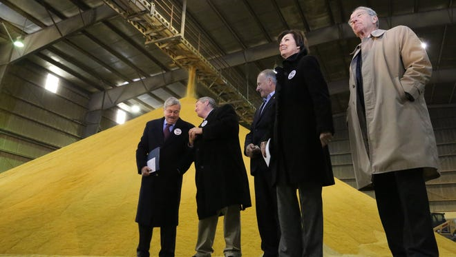 """L to R, Gov. Branstad, Iowa Ag Secretary Bill Northey, U.S. Rep. Steve King,  Lt Governor. Lieutenant Governor of the State of Iowa. Kim Reynolds, and U.S. Sen. Chuck Grassley, were some of the speakers at the event. des.b1123ethanol - Lincolnway Energy, 59511 W. Lincoln Highway,  Nevada - The Iowa RFS Coalition hosted a """"Defend the RFS"""" event to highlight the negative impact of EPA's proposal to radically reduce Renewable Fuel Standard (RFS) levels for 2014. Attendees talked about how Iowa consumers, farmers and renewable fuels producers will be harmed if the proposal moves forward.  Gov. Branstad, Lt Governor. Lieutenant Governor of the State of Iowa. Kim Reynolds, U.S. Sen. Chuck Grassley, U.S. Rep. Steve King, Iowa Ag Secretary Bill Northey were some of the speakers at the event."""