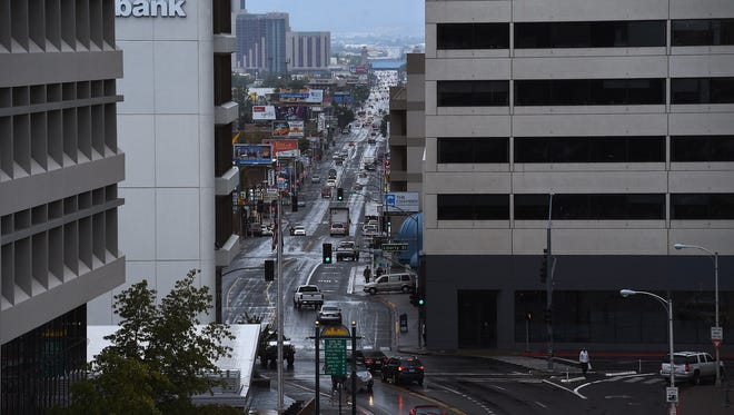 Virginia Street heads south from downtown towards Midtown in Reno on Oct. 1, 2015.