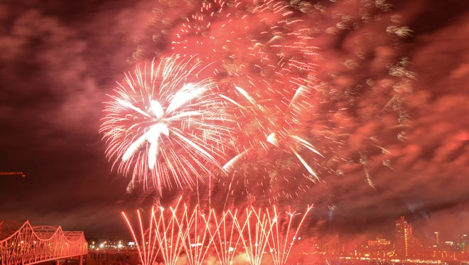 The fireworks show of Thunder Over Louisville 2015 as seen from Southern Indiana. Saturday April 18, 2015.