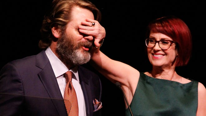 Actors Nick Offerman and Megan Mullally host the 29th Annual Lucille Lortel Awards at NYU Skirball Center on May 4, 2014 in New York City.
