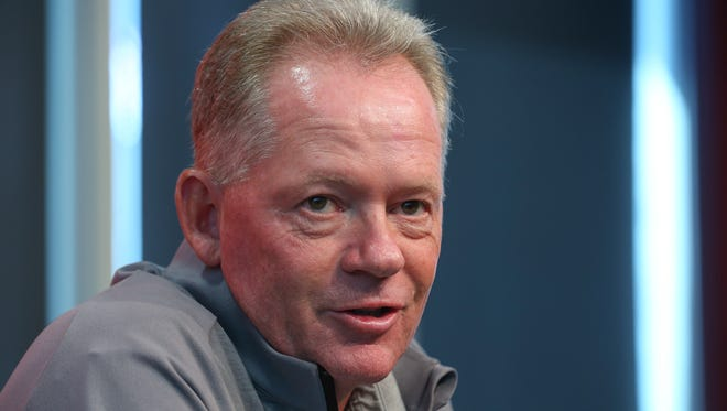 Louisville coach Bobby Petrino jokes with the media during a press conference.August 29, 2016
