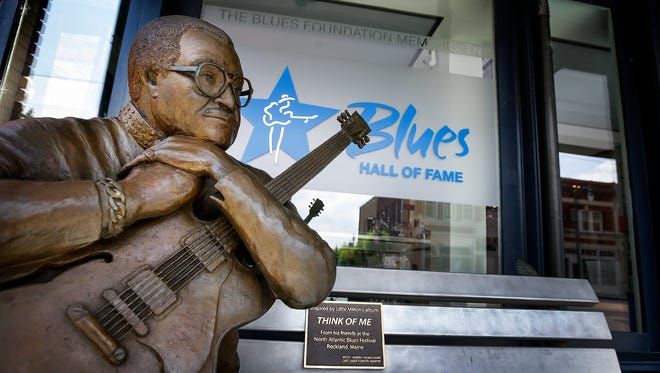 A life size statue of Little Milton greets fans entering the BluesHall of Fame on Front Street in Memphis. The Hall will be one of the institutions participating in the Smithsonian's free Museum Day on Sept. 18.