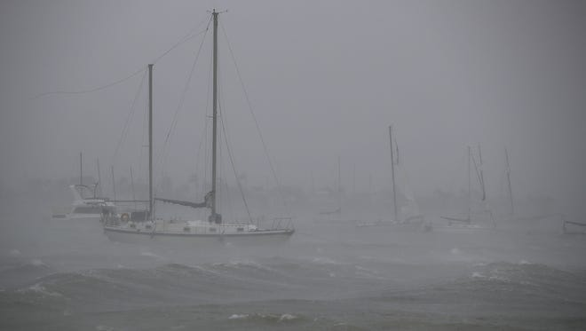 Boats ride out Hurricane Irma in a marina on September 10, 2017, in Miami, Florida. Hurricane Irma made landfall in the Florida Keys as a Category 4 storm on Sunday.