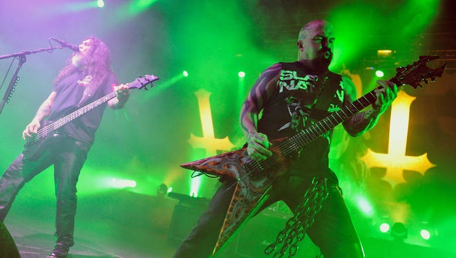 Tom Araya and Kerry King of Slayer perform at Madison Square Garden in 2013 in New York City.