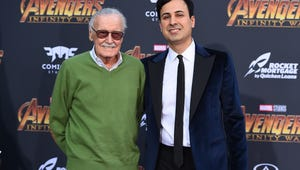 """In this April 23 file photo, Stan Lee, left, and Keya Morgan arrive at the world premiere of """"Avengers: Infinity War"""" in Los Angeles. Lee has taken out a restraining order against Morgan."""