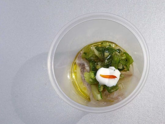 GOLD MEDAL: Cold smoked meagre with celery, lemon, olive oil and creme fraiche from Crudo at the Devour Culinary Classic