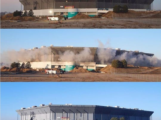 The Pontiac Silverdome before, during and after the implosion, the stadium is still standing on Sunday, Dec. 3, 2017.