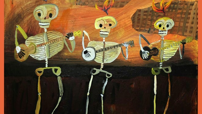"Whimsical pieces of art will be for sale at the Dia de Los Muertos event in Lincoln, such as Todd Shelby's ""Skeleton Crew.""."