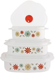 This undated photo provided by Wayfair shows the Corelle Storage Set, which comes with floral, leaf and geometric patterns, and are freezer, microwave and dishwasher safe.