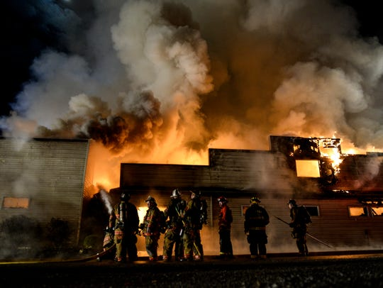 Fire crews from Lebanon and Berks counties battled
