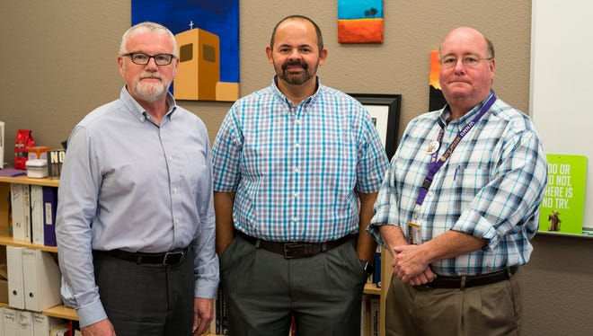Pictured from left are Dr. David Scarborough, professor of management; Dr. Miguel Vicens, School of Business Associate Dean; and Dr. Chip Campbell, professor of marketing.