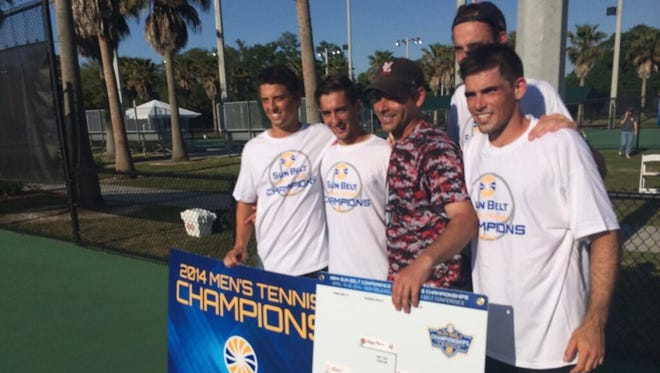 The UL men's tennis team poses after winning the Sun Belt Conference championship.