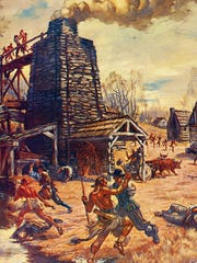 Iron furnace on the frontier being attacked by Native