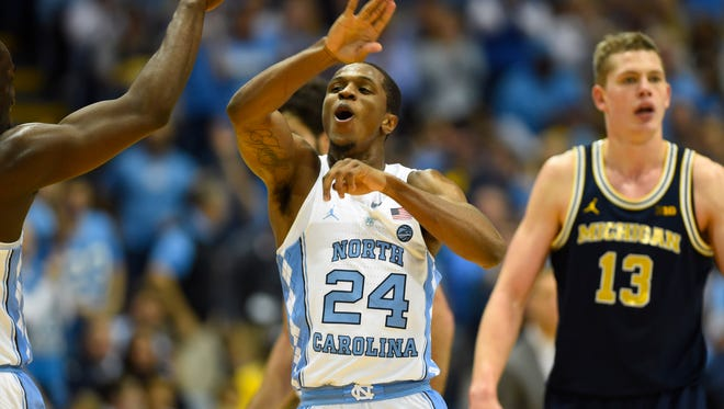 Nov. 29: North Carolina guard Kenny Williams celebrates during the second half at Dean E. Smith Center in Chapel Hill, N.C.
