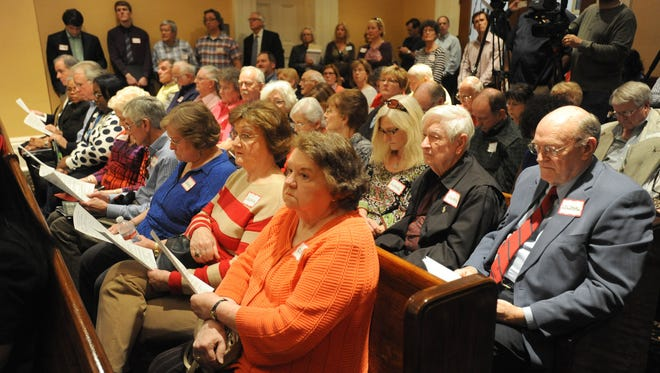 A packed house listens to debate on a zoning proposal that would effect the area surrounding the defunct Colonial Country Club in north Jackson during a meeting Monday of the City Council at Jackson City Hall in Jackson.