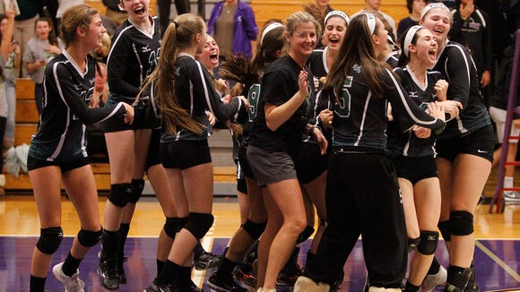 Yorktown players react after their 3-0 win over John